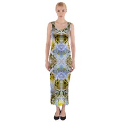Blue Yellow Flower Girly Pattern, Fitted Maxi Dress