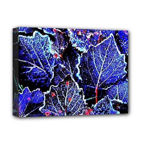 Blue Leaves In Morning Dew Deluxe Canvas 16  X 12   by Costasonlineshop