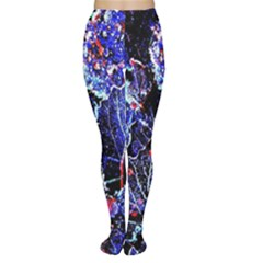 Blue Leaves In Morning Dew Women s Tights