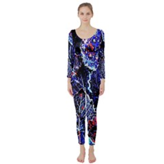 Blue Leaves In Morning Dew Long Sleeve Catsuit