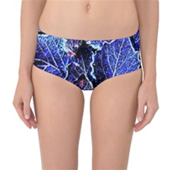 Blue Leaves In Morning Dew Mid Waist Bikini Bottoms