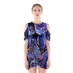 Blue Leaves In Morning Dew Cutout Shoulder Dress by Costasonlineshop