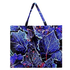 Blue Leaves In Morning Dew Zipper Large Tote Bag by Costasonlineshop