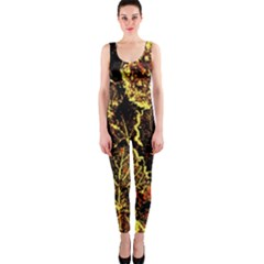 Leaves In Morning Dew,yellow Brown,red, Onepiece Catsuit by Costasonlineshop