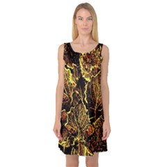 Leaves In Morning Dew,yellow Brown,red, Sleeveless Satin Nightdress