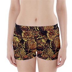 Leaves In Morning Dew,yellow Brown,red, Boyleg Bikini Wrap Bottoms