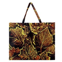 Leaves In Morning Dew,yellow Brown,red, Zipper Large Tote Bag