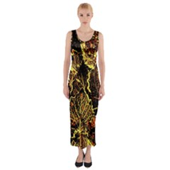 Leaves In Morning Dew,yellow Brown,red, Fitted Maxi Dress