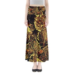 Leaves In Morning Dew,yellow Brown,red, Maxi Skirts by Costasonlineshop