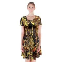 Leaves In Morning Dew,yellow Brown,red, Short Sleeve V Neck Flare Dress by Costasonlineshop