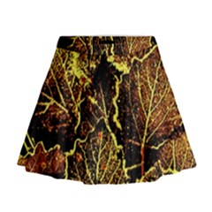 Leaves In Morning Dew,yellow Brown,red, Mini Flare Skirt by Costasonlineshop