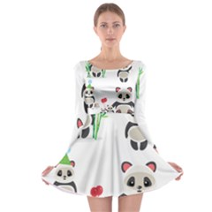 Panda Cute Animals Long Sleeve Skater Dress