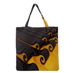 Tsunami Roll Sea Wave Grocery Tote Bag by AnjaniArt