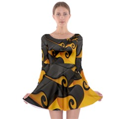 Tsunami Roll Sea Wave Long Sleeve Skater Dress by AnjaniArt