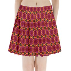 Pink Green Yellow Flower Pleated Mini Skirt
