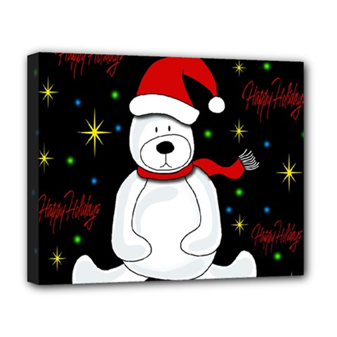 Polar Bear   Xmas Design Deluxe Canvas 20  X 16   by Valentinaart