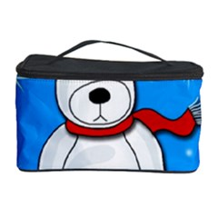 Polar Bear   Blue Cosmetic Storage Case by Valentinaart