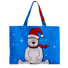Polar Bear   Blue Zipper Mini Tote Bag by Valentinaart