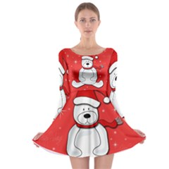 Polar Bear   Red Long Sleeve Skater Dress by Valentinaart