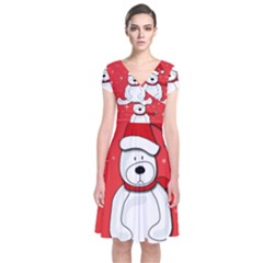 Polar Bear - Red Short Sleeve Front Wrap Dress by Valentinaart
