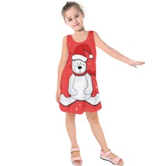 Polar Bear   Red Kids  Sleeveless Dress by Valentinaart