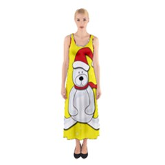 Polar Bear   Yellow Sleeveless Maxi Dress by Valentinaart