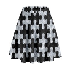 Puzzle1 Black Marble & Gray Marble High Waist Skirt by trendistuff