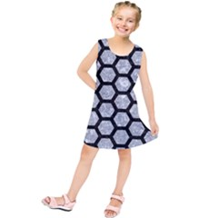 Hexagon2 Black Marble & Gray Marble (r) Kids  Tunic Dress