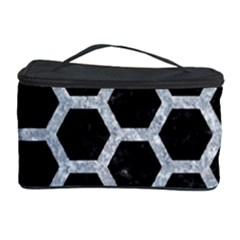 Hexagon2 Black Marble & Gray Marble Cosmetic Storage Case by trendistuff