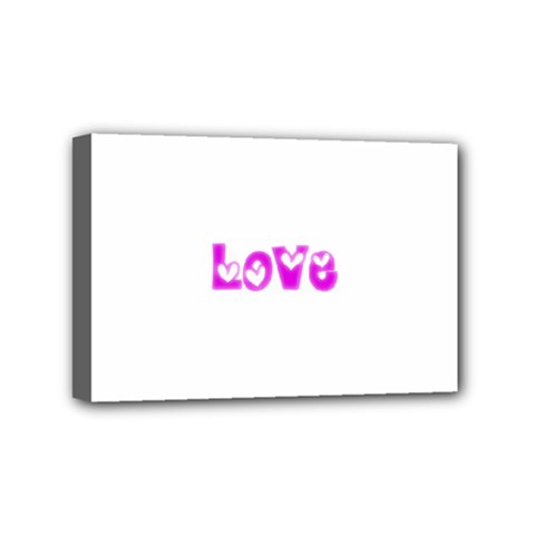 Pink Love Hearts Typography Mini Canvas 6  X 4  by yoursparklingshop