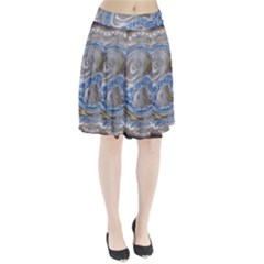 Silver Gray Blue Geometric Art Circle Pleated Skirt by yoursparklingshop