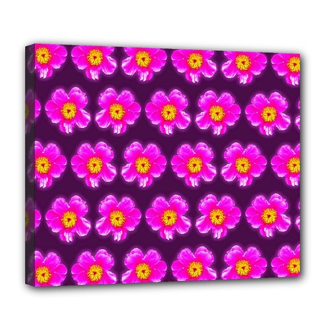 Pink Flower Pattern On Wine Red Deluxe Canvas 24  X 20
