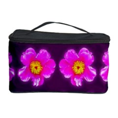Pink Flower Pattern On Wine Red Cosmetic Storage Case by Costasonlineshop