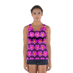 Pink Flower Pattern On Wine Red Women s Sport Tank Top  by Costasonlineshop