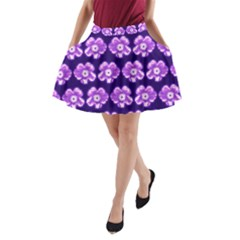 Purple Flower Pattern On Blue A Line Pocket Skirt by Costasonlineshop
