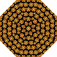 Yellow Brown Flower Pattern On Brown Folding Umbrellas by Costasonlineshop