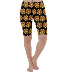 Yellow Brown Flower Pattern On Brown Cropped Leggings  by Costasonlineshop