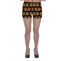 Yellow Brown Flower Pattern On Brown Skinny Shorts by Costasonlineshop