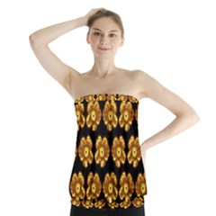 Yellow Brown Flower Pattern On Brown Strapless Top by Costasonlineshop