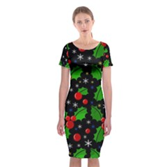 Xmas Magical Pattern Classic Short Sleeve Midi Dress by Valentinaart