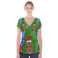 Xmas Gifts Short Sleeve Front Detail Top by Valentinaart
