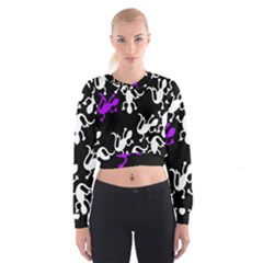 Purple Lizard  Women s Cropped Sweatshirt by Valentinaart