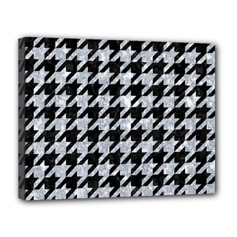 Houndstooth1 Black Marble & Gray Marble Canvas 14  X 11  (stretched) by trendistuff