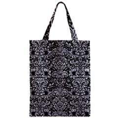 Damask2 Black Marble & Gray Marble Zipper Classic Tote Bag by trendistuff
