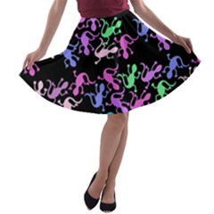 Purple Lizards Pattern A-line Skater Skirt