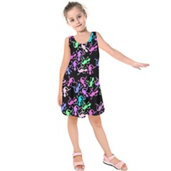 Purple Lizards Pattern Kids  Sleeveless Dress by Valentinaart
