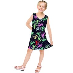 Playful Lizards Pattern Kids  Tunic Dress by Valentinaart