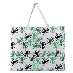 Lizards Pattern   Green Zipper Large Tote Bag by Valentinaart