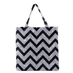 Chevron9 Black Marble & Gray Marble (r) Grocery Tote Bag by trendistuff