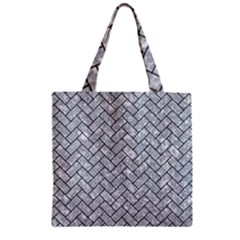 Brick2 Black Marble & Gray Marble (r) Zipper Grocery Tote Bag by trendistuff